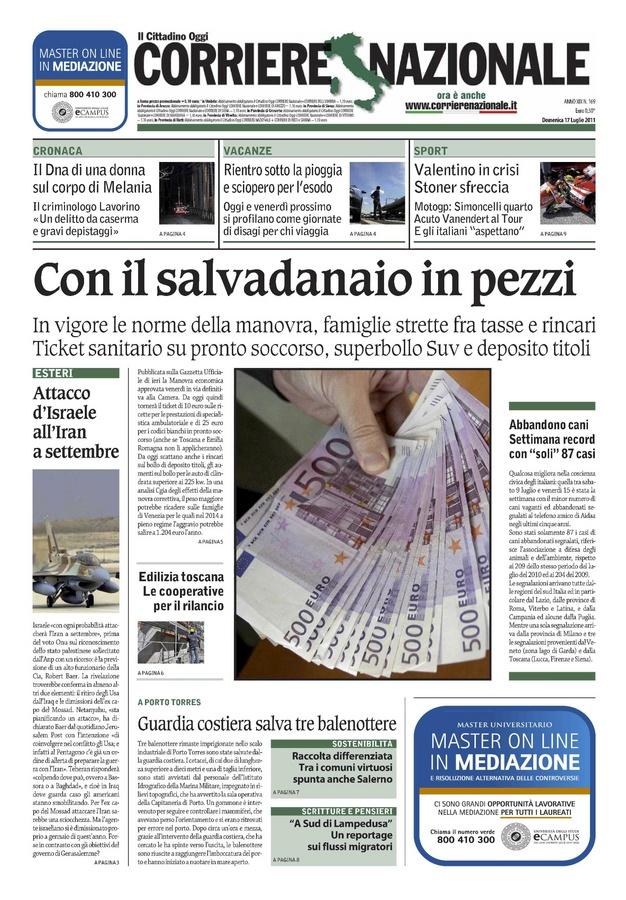 Scritture & Pensieri, domenicale de Il Corriere Nazionale
