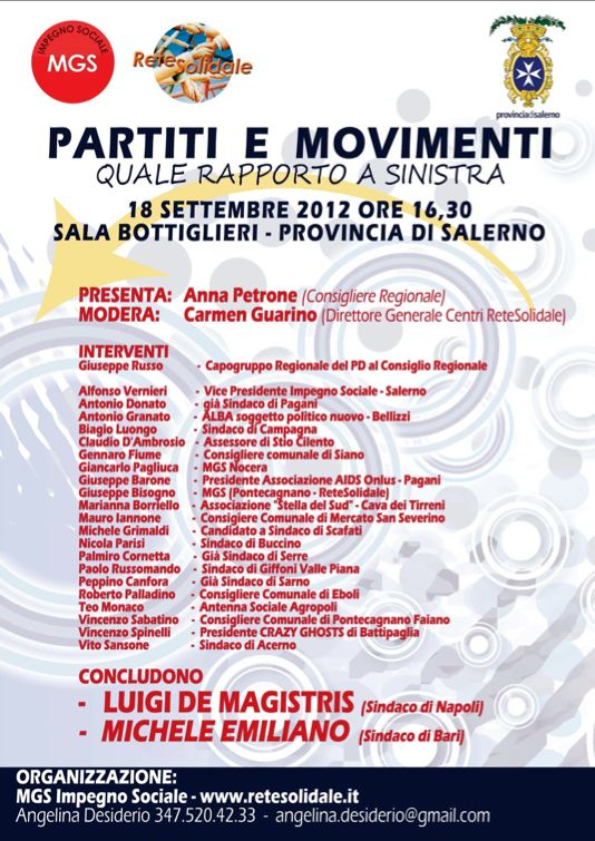 """Partiti e Movimenti"", De Magistris ed Emiliano domani a Salerno"