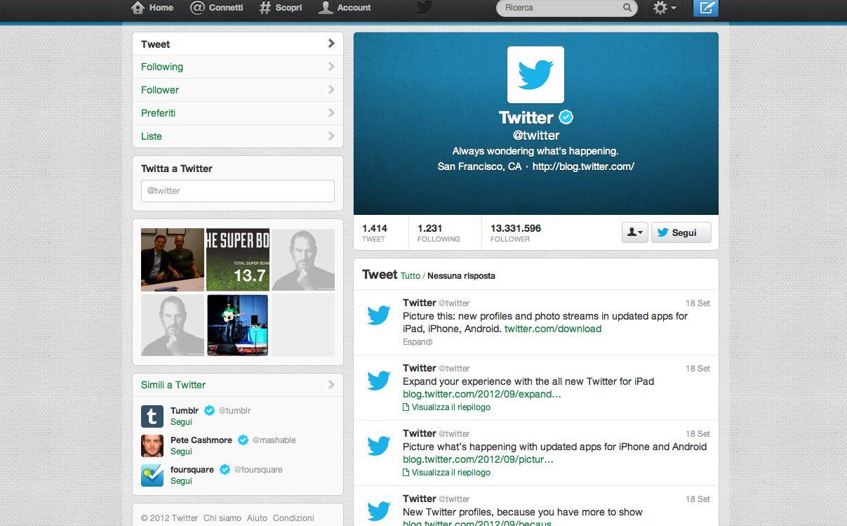 Twitter usa l'immagine e per i profili si ispira al Diario di Facebook