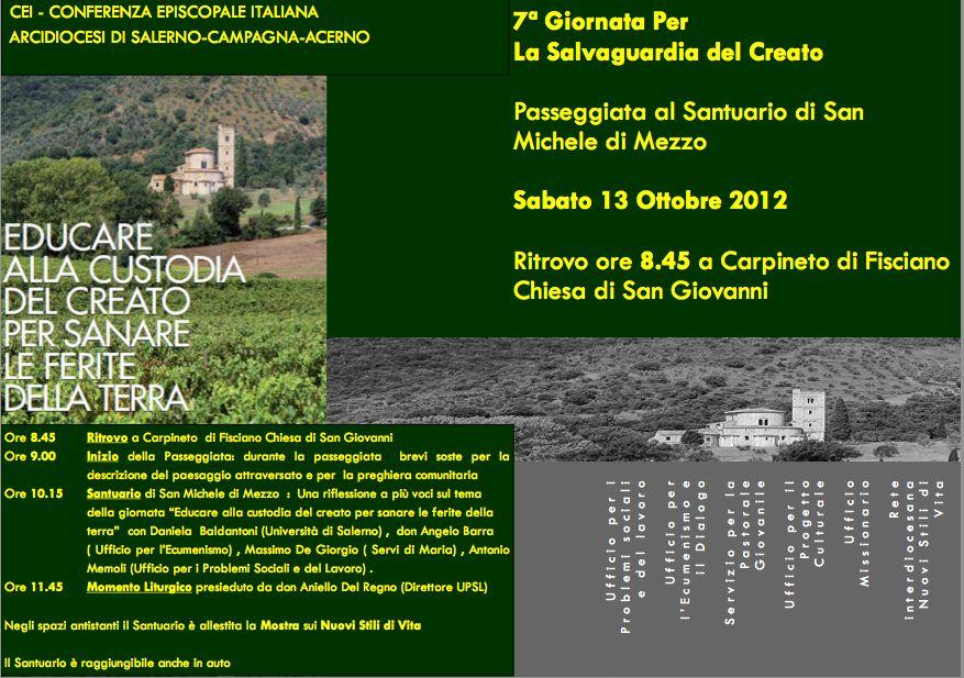 Sabato 13 ottobre giornata per la salvaguardia del Creato a Fisciano