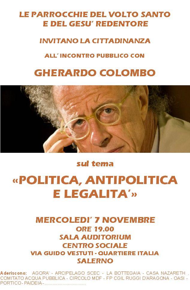 Politica, antipolitica e legalità: incontro pubblico con Gherardo Colombo