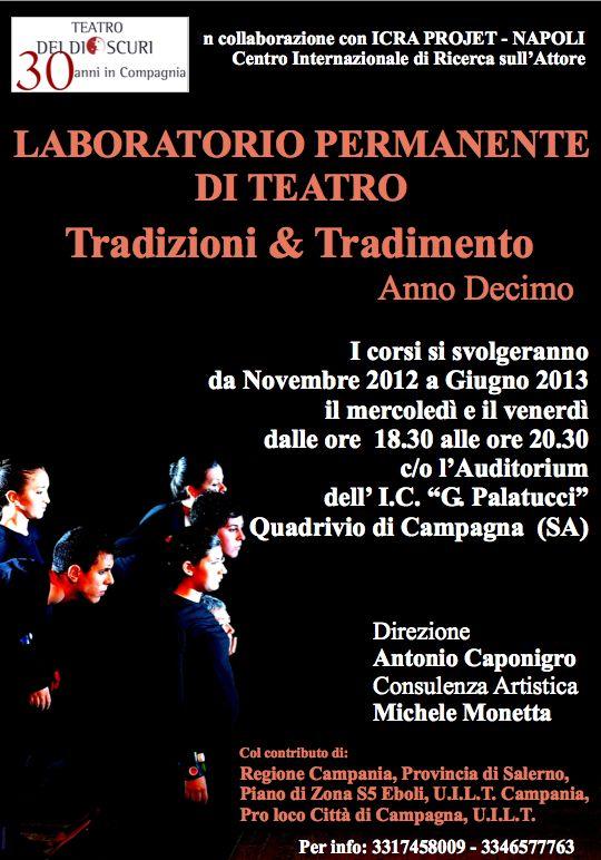 """Campagna, """"Tradizioni&Tradimento"""" laboratorio permanente di teatro"""