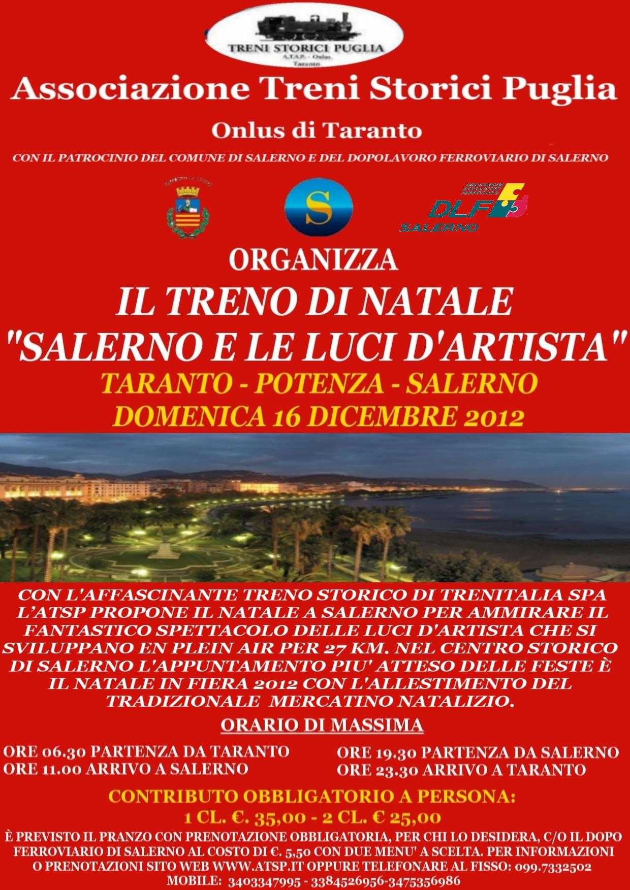 Treno d'epoca da Taranto a Salerno il 16 dicembre per le luci d'artista
