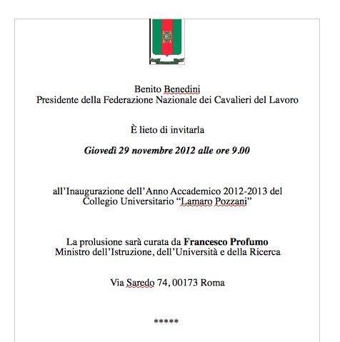 """Collegio Universitario """"Pozzani"""", il 29 novembre l'inaugurazione con Profumo"""