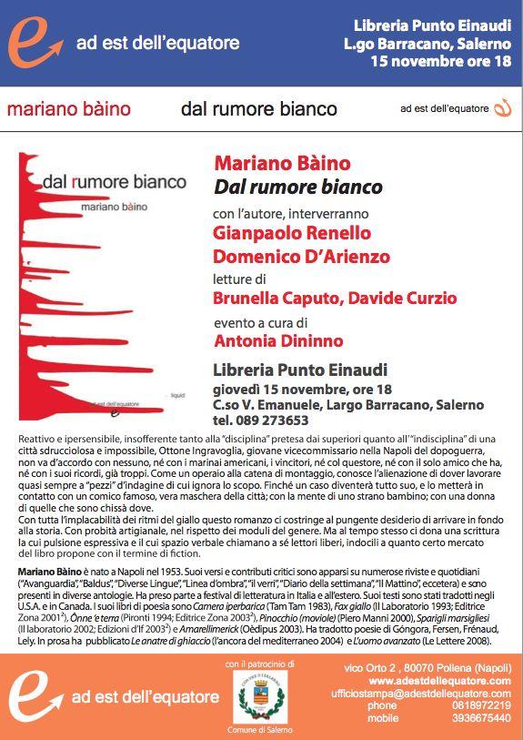 """Salerno, domani al Punto Einaudi Bàino con """"Dal rumore bianco"""""""