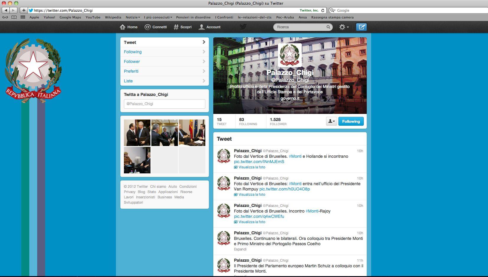 Da ieri Palazzo Chigi ha scelto Twitter per avvicinarsi agli italiani
