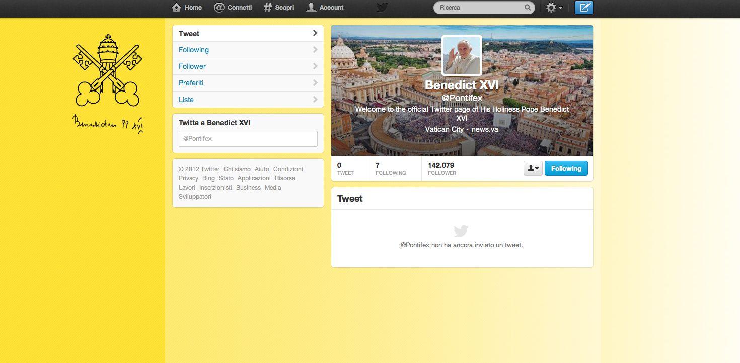 Benedetto XVI spopola e attrae su Twitter