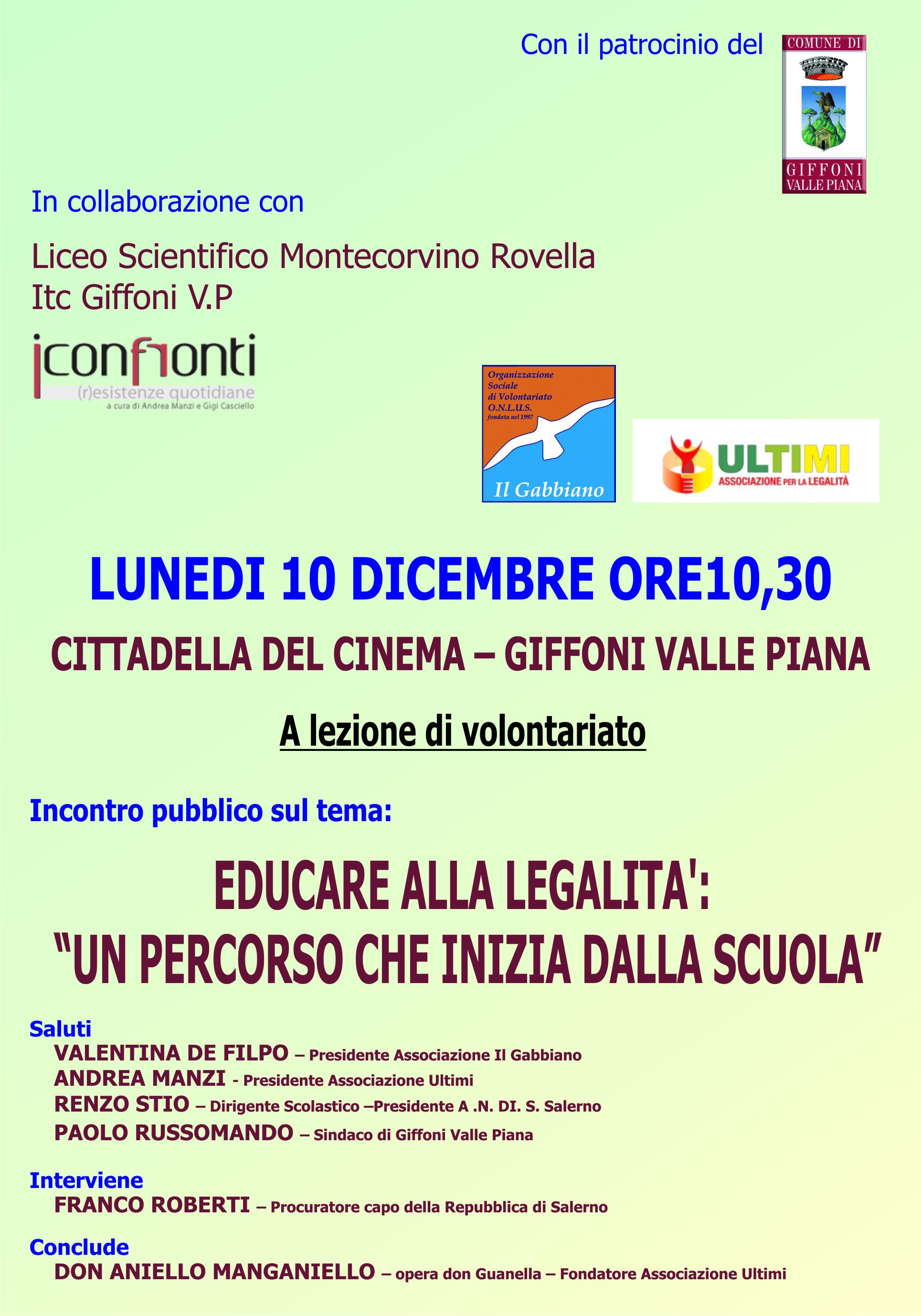 Educare alla legalità il 10 dicembre a Giffoni