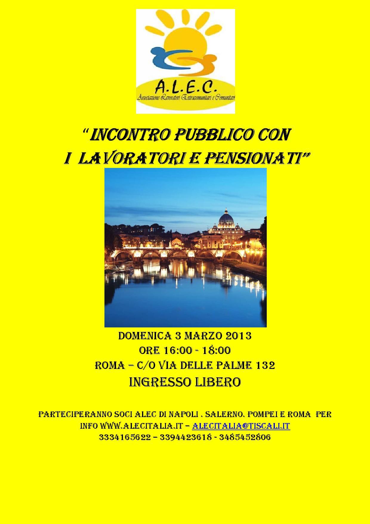 Alec, incontro pubblico con lavoratori e pensionati il 3 marzo a Roma