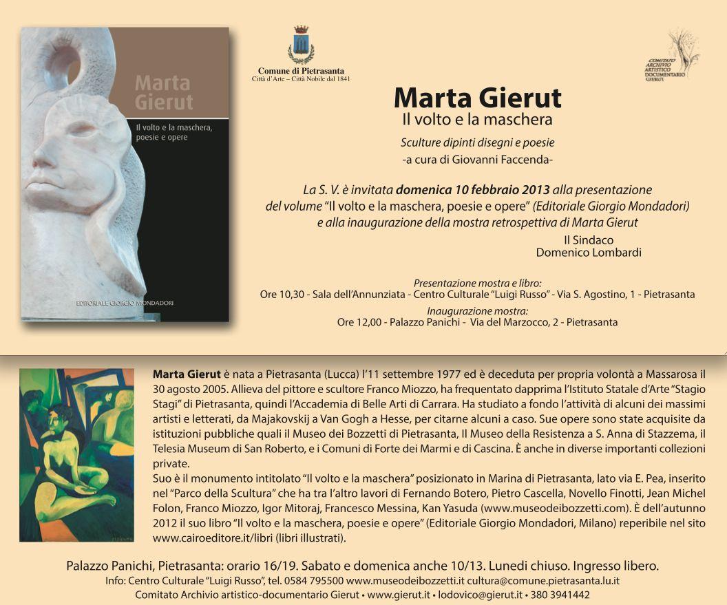 Marta Gierut, il volto e la maschera: presentazione libro e mostra