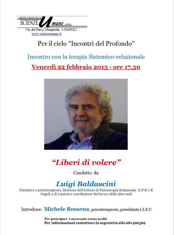 """Terapia Sistemico-relazionale, """"Liberi di volere"""" con Baldascini"""