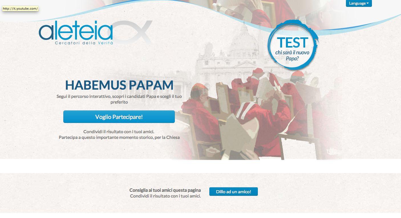 Percorso interattivo online per scoprire il tuo papa ideale