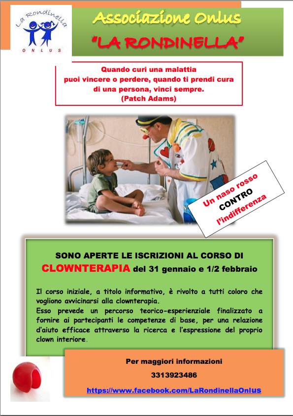 Regaliamo sorrisi in pediatria, al via corso di clownterapia