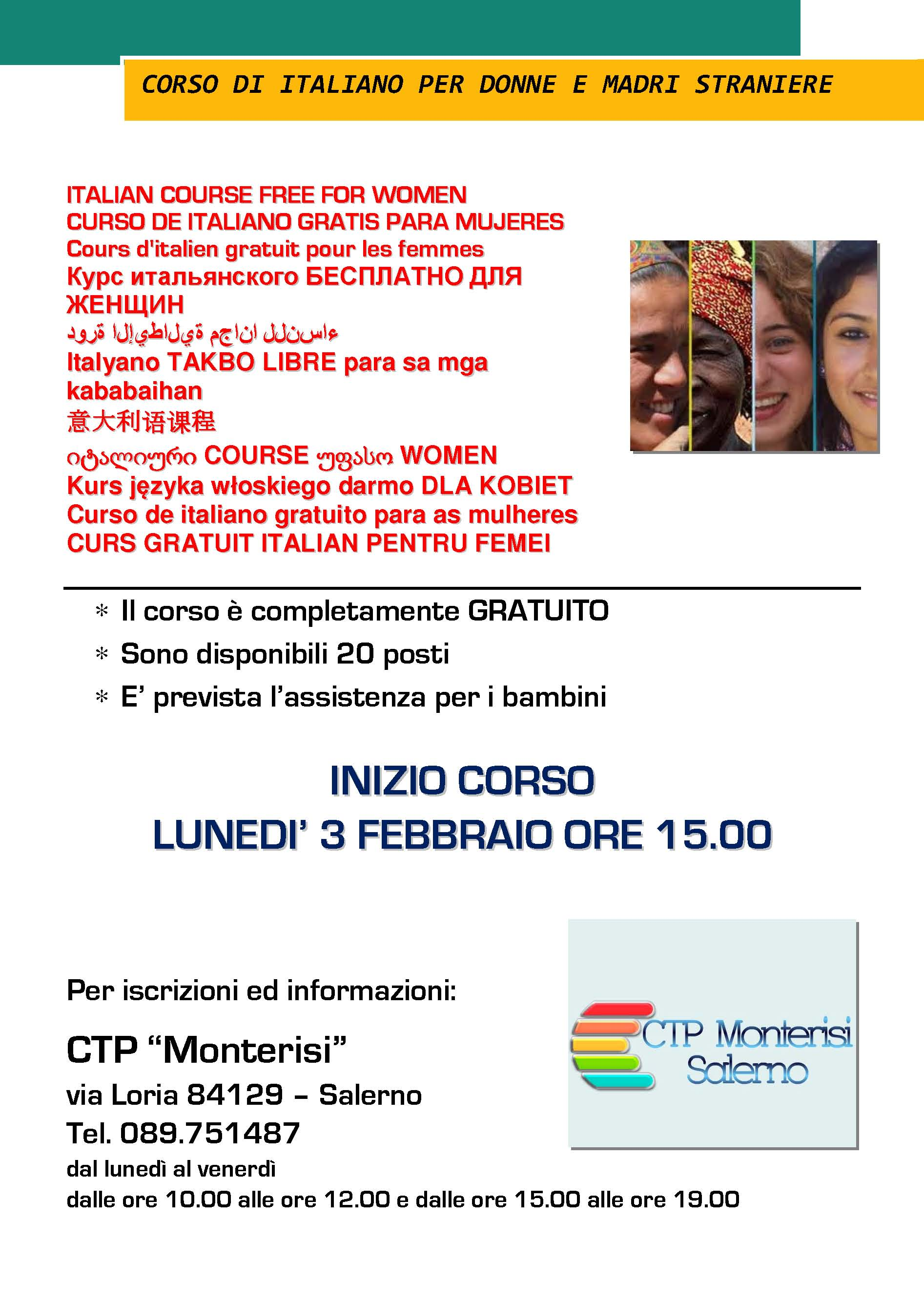 A Salerno un corso di italiano per donne straniere