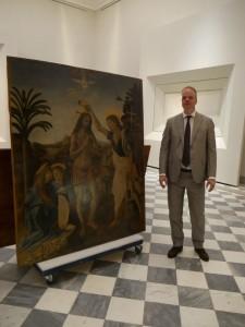 L'allestimento delle opere, il direttore Eike Schmidt
